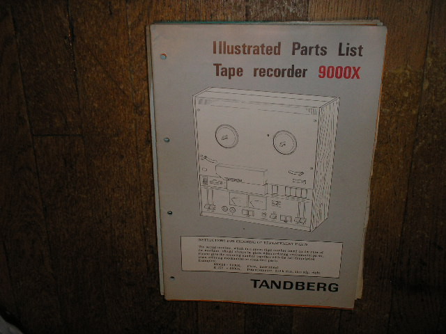 9000X Series Tape Recorder Parts Manual 2