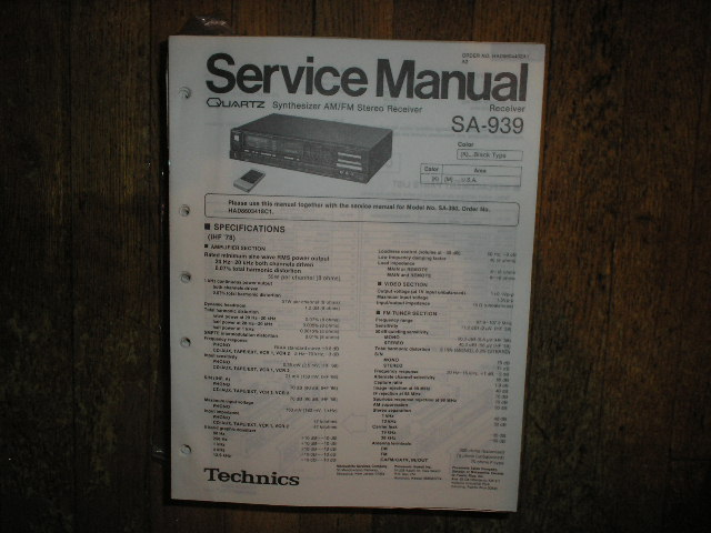 SA-939 Receiver Service Manual