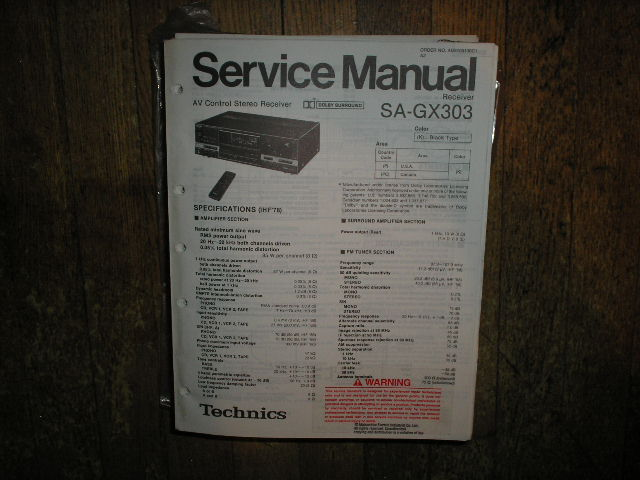 SA-GX303 Receiver Service Manual
