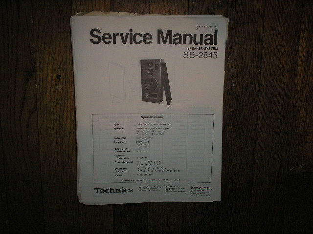 SB-2845 Speaker System Service Manual