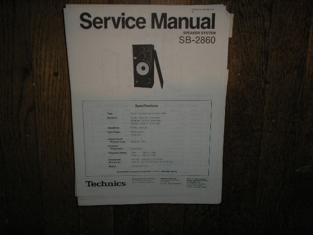 SB-2860 Speaker System Service Manual