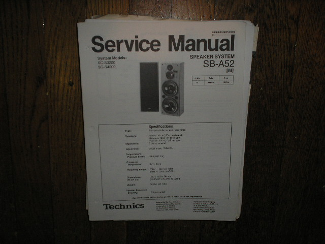 SB-A52 Speaker System Service Manual
