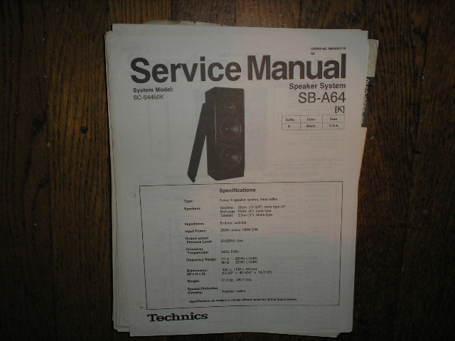 SB-A64 Speaker System Service Manual