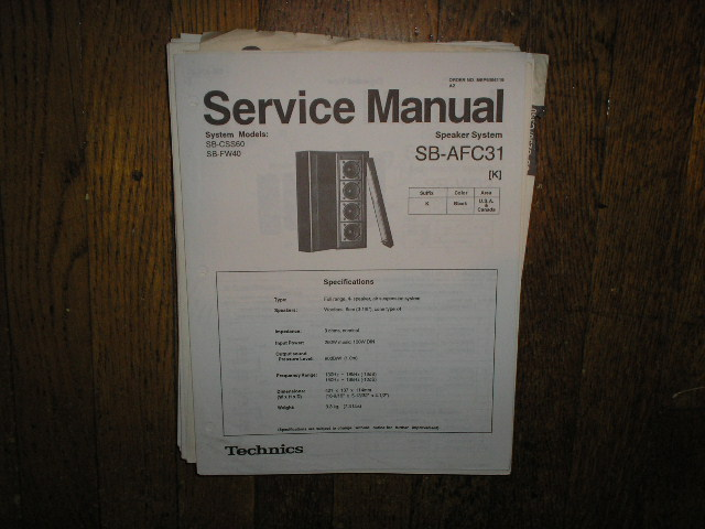 SB-AFC31 Speaker System Service Manual