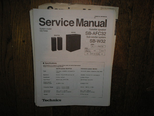 SB-AFC32 SB-W32 Sub-Woofer Speaker System Service Manual