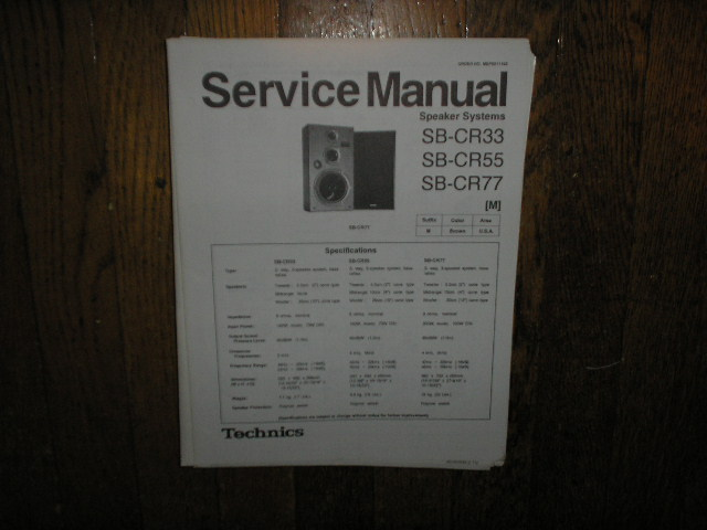 SB-CR33 SB-CR55 SB-CR77 Speaker System Service Manual