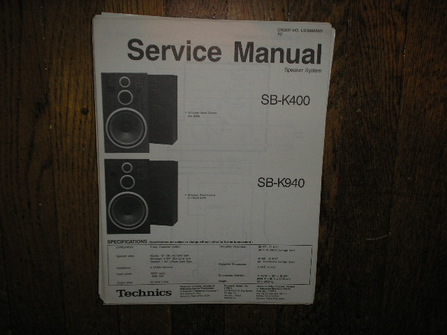 SB-K400 SB-K940 Speaker System Service Manual
