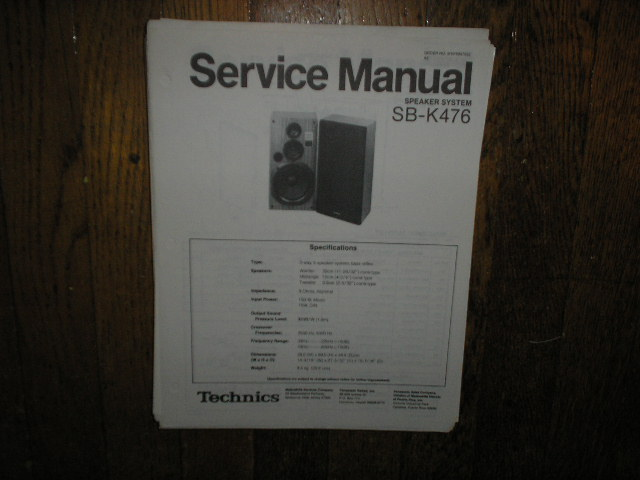 SB-K476 Speaker System Service Manual