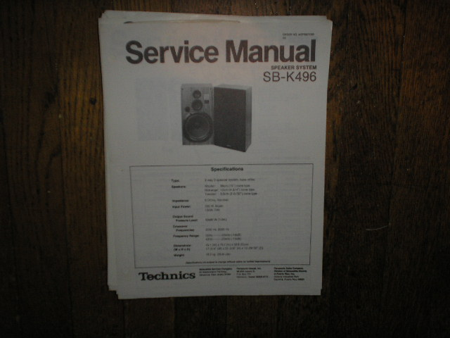 SB-K496 Speaker System Service Manual