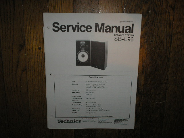 SB-L96 Speaker System Service Manual
