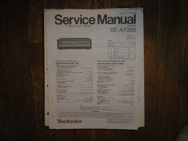 SE-A1000 Amplifier Service Manual