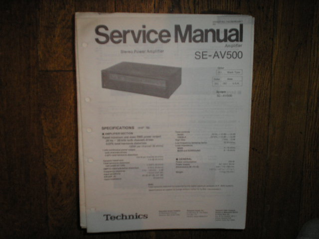 SE-AV500 Amplifier Service Manual