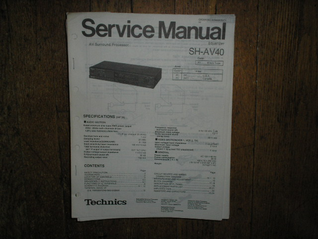 SH-AV40 Equalizer Service Manual