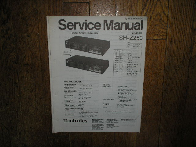 SH-Z250 Equalizer Service Manual