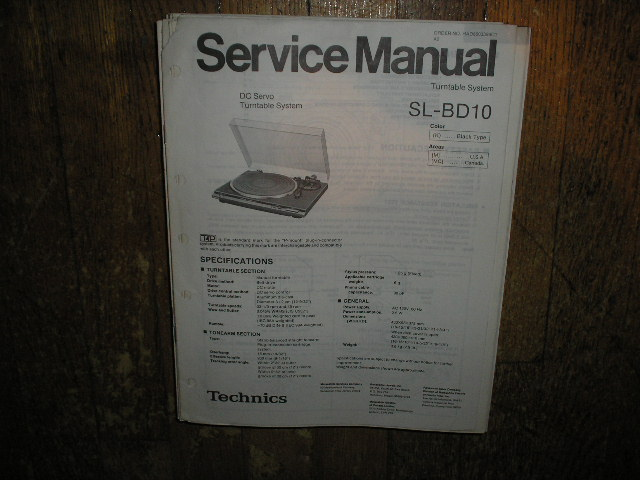 SL-BD10 Turntable Service Manual