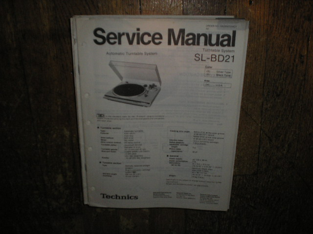 SL-BD21 Turntable Service Manual
