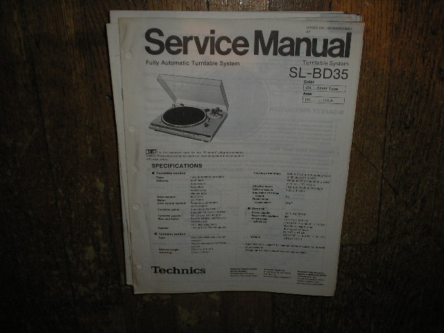 SL-BD35 Turntable Service Manual