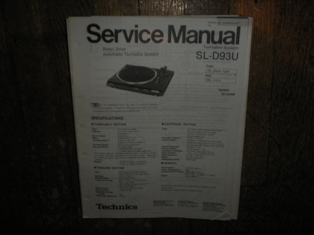 SL-D93U Turntable Service Manual