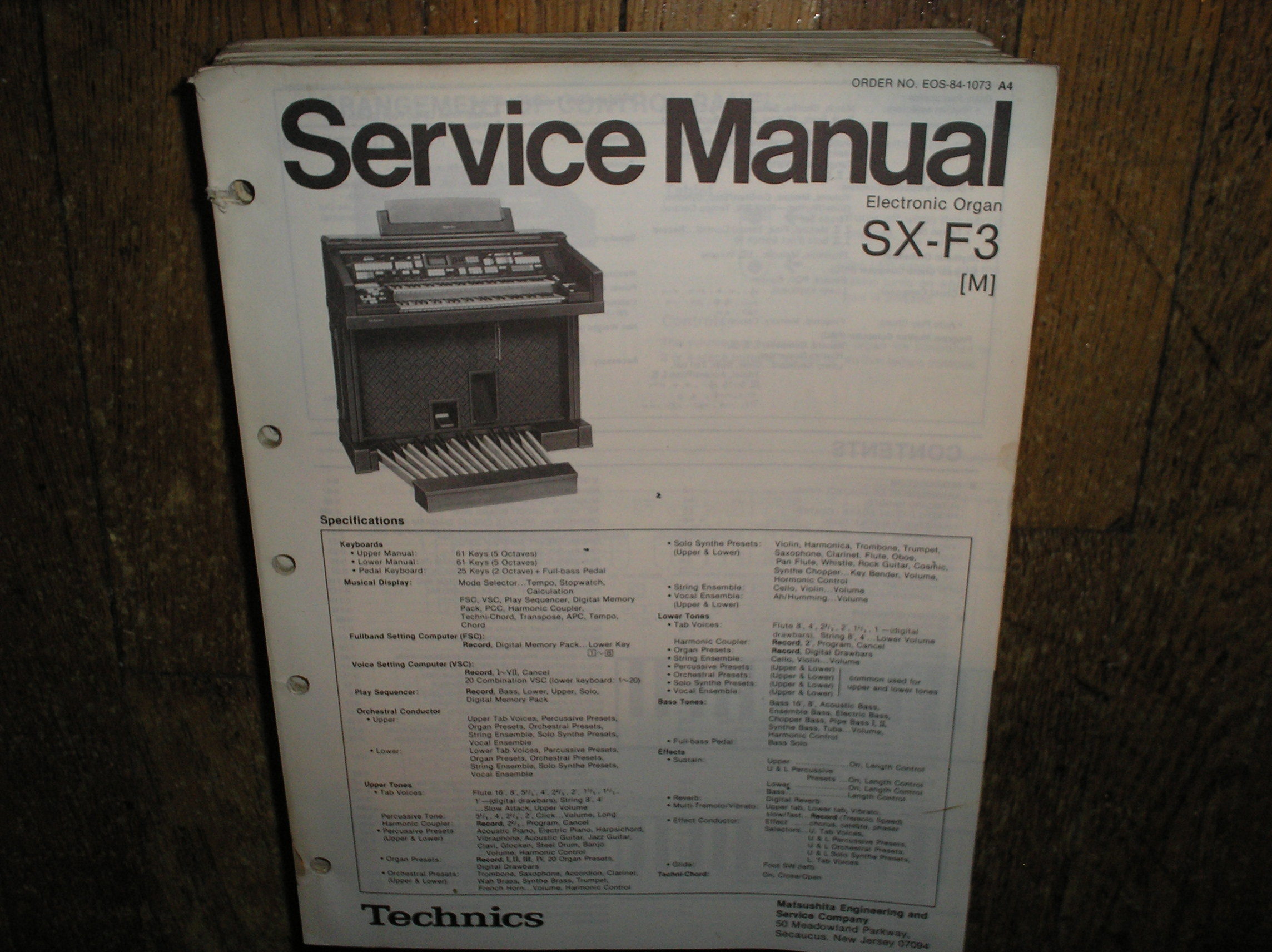 SX-F3 SX-F3M Electric Organ Service Manual