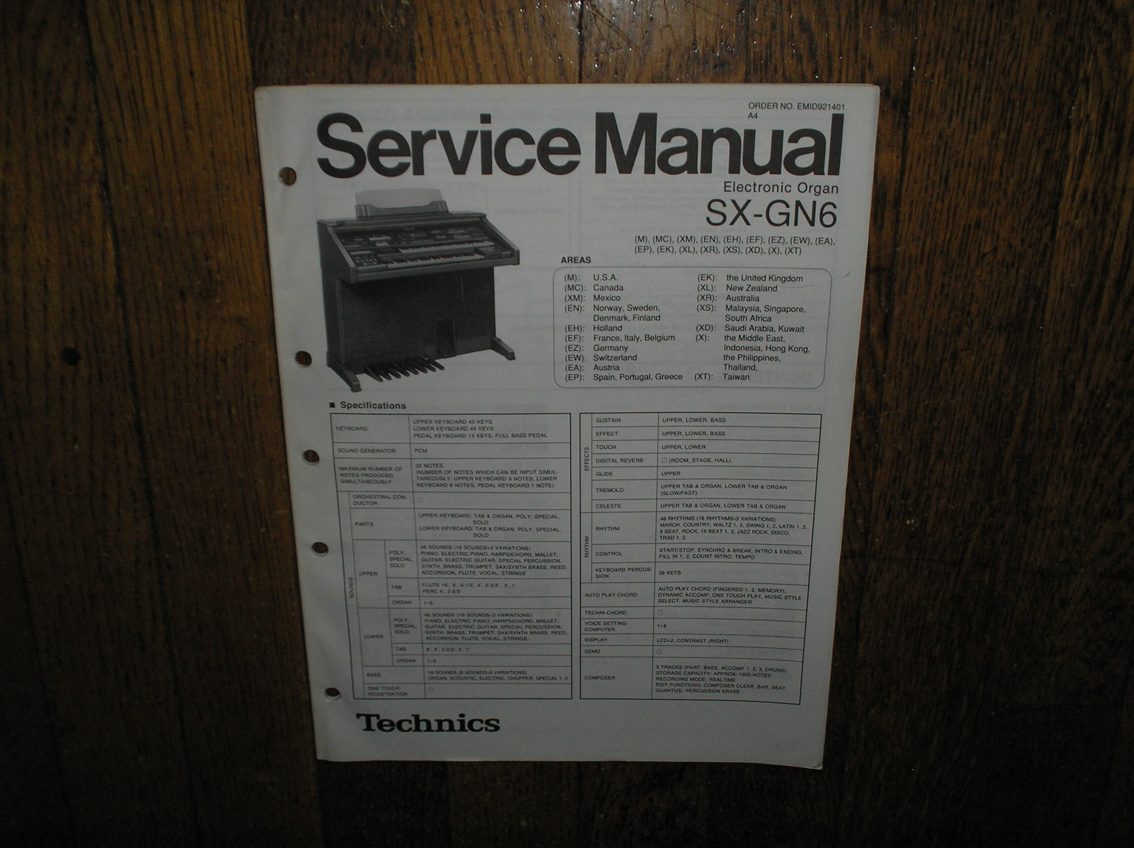 SX-GN6 Electric Organ Service Manual