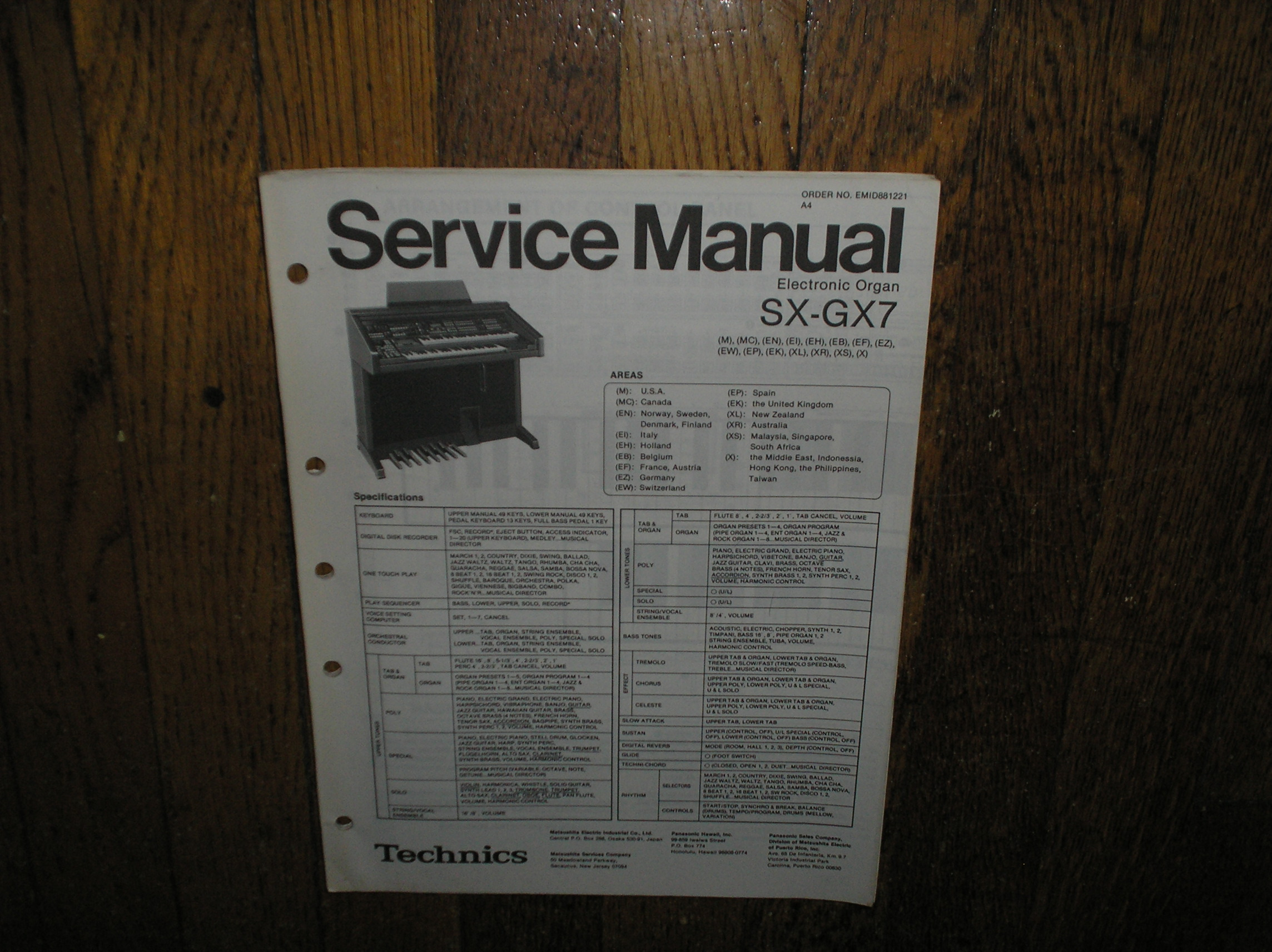 SX-GX7 Electric Organ Service Manual