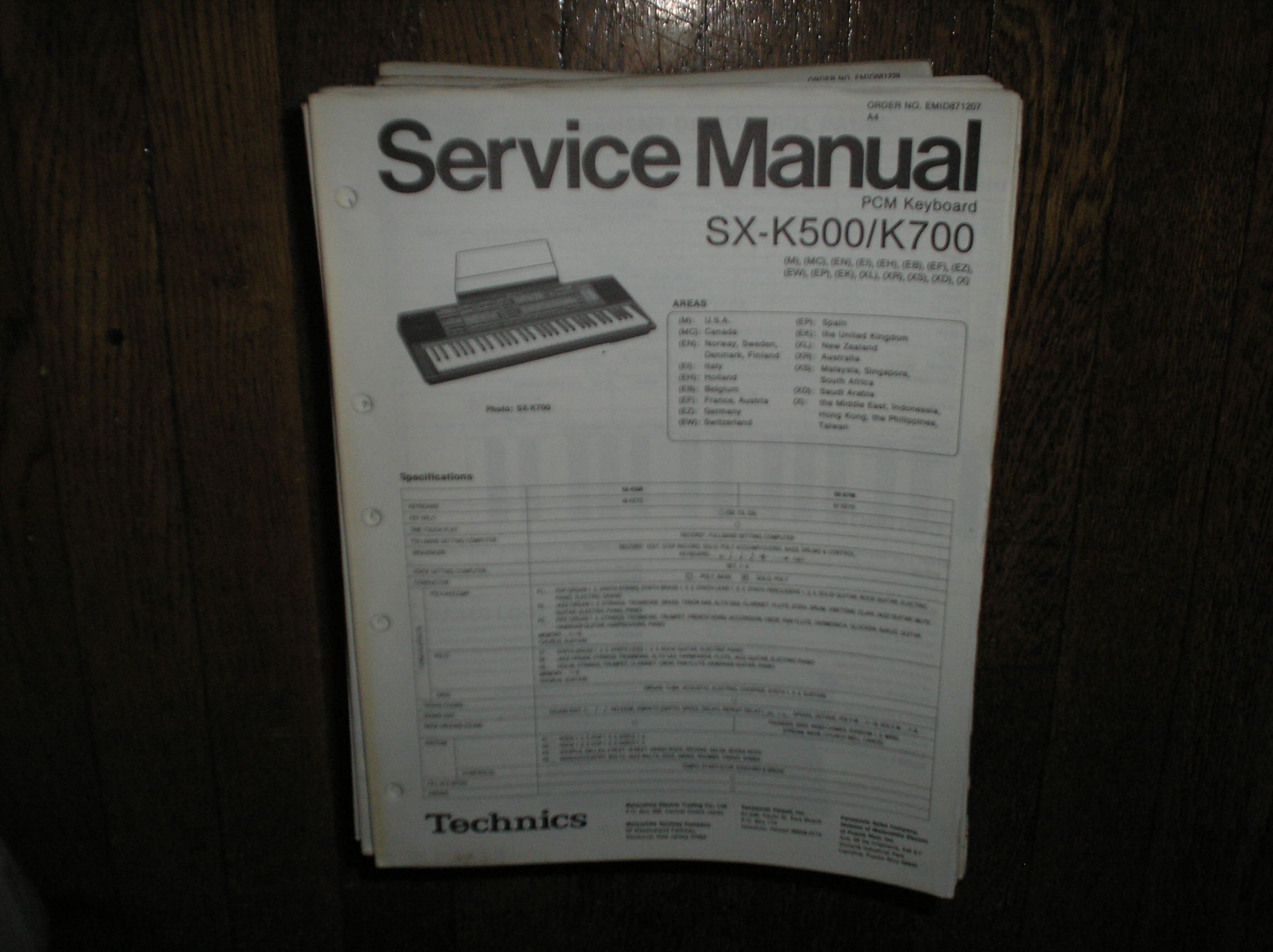 SX-K500 SX-K700 PCM Keyboard Service Manual