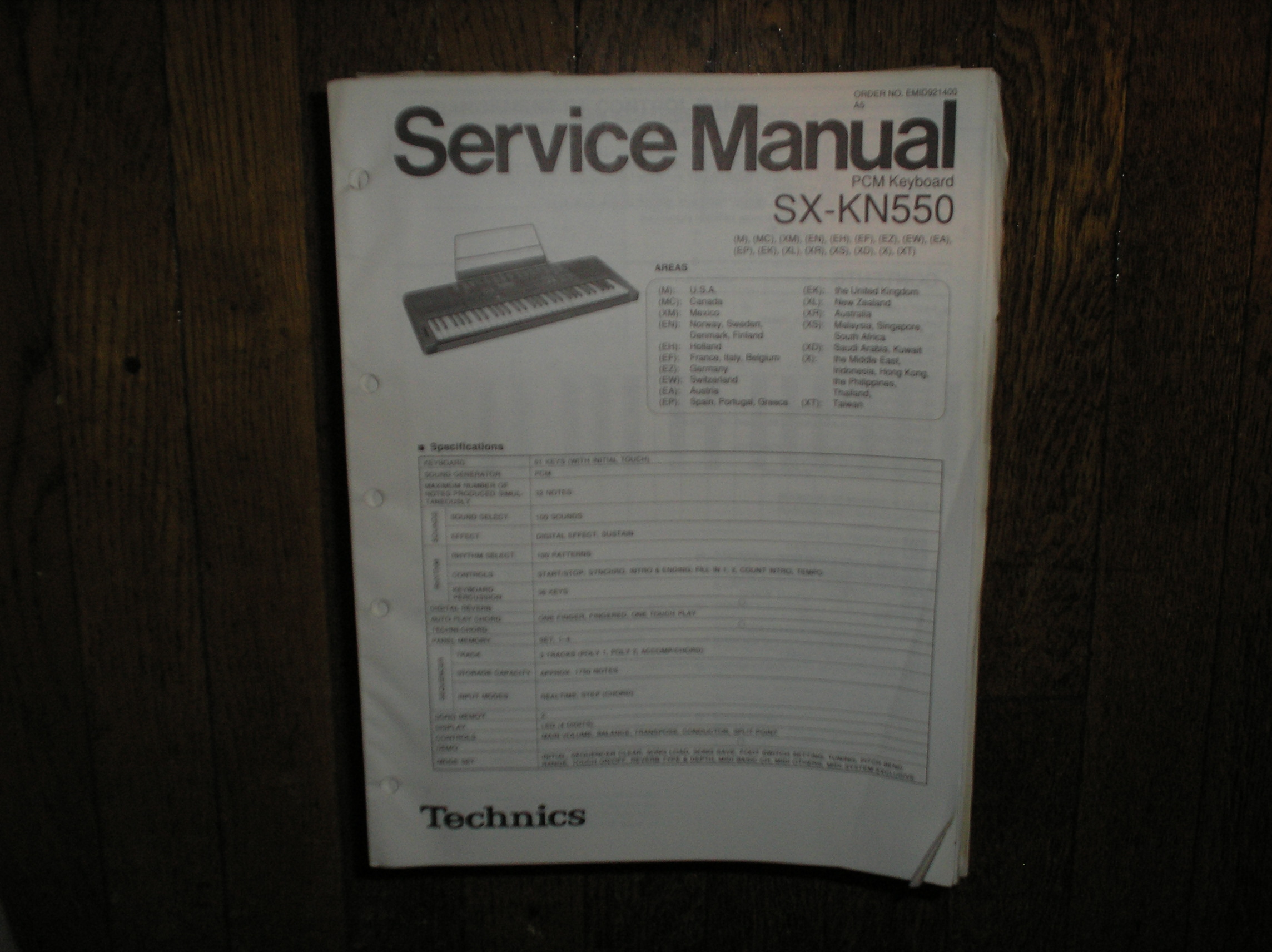 SX-KN550 PCM Keyboard Service Manual