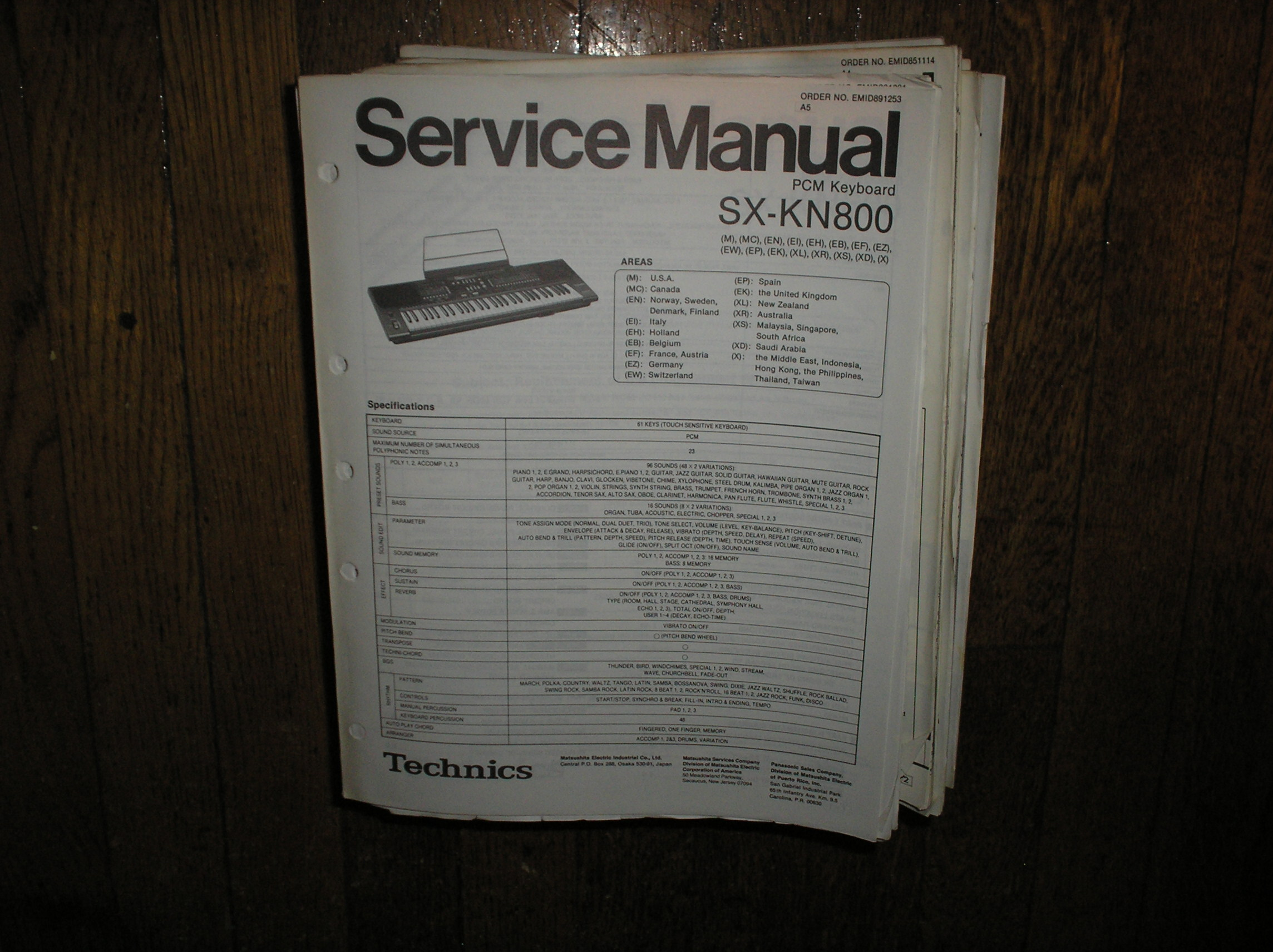 SX-KN800 PCM Keyboard Service Manual