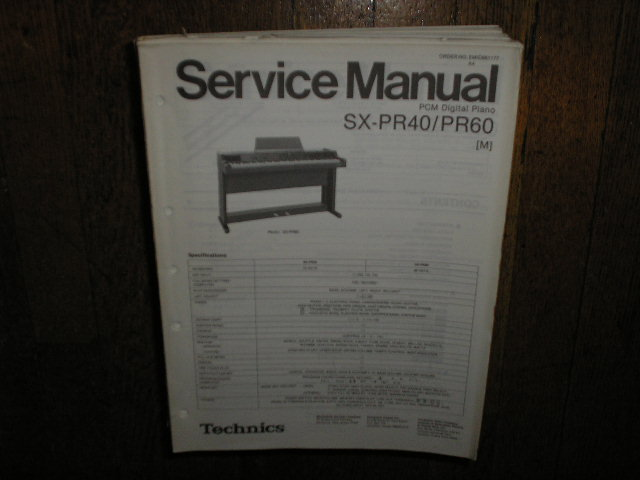 SX-PR40 SX-PR60 PCM Digital Piano Service Manual