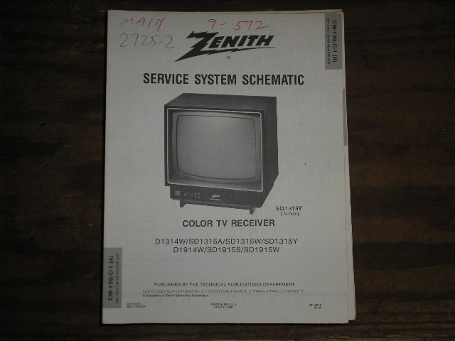 D1314W SD1315 A W Y D1314W SD1915 S W TV Service Information CM-139 C-1 A B Chassis ... With Schematics