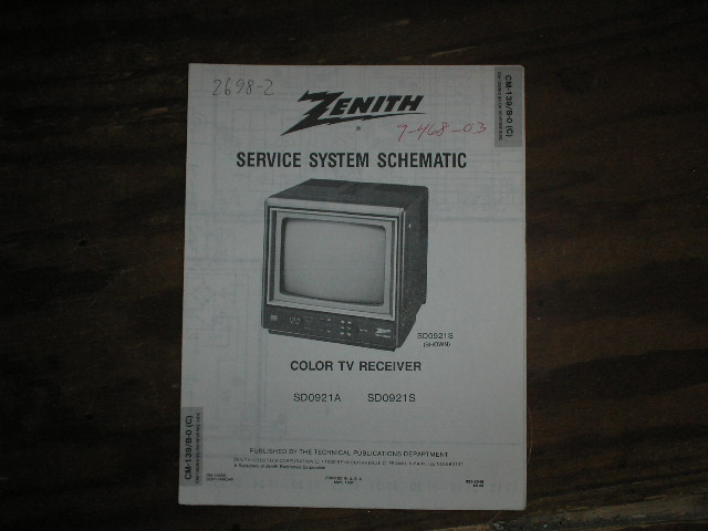 SD0921A SD0921S TV Service Diagram CM-139 B-0 C D Chassis Television Service Information With Schematics