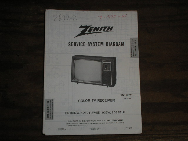 SD1907W SD1911W SD1923W SD3981H TV Service Diagram CM-139 B-1 E F Chassis Television Service Information With Schematics