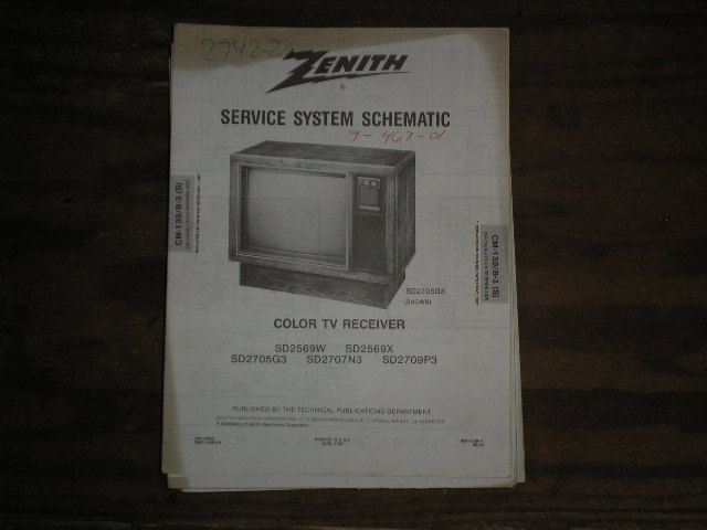 SD2569W SD2569X SD2705G3 SD2707N3 SD2709P3 TV Service Diagram CM-139 B-3 S T Chassis Television Service Information With Schematics