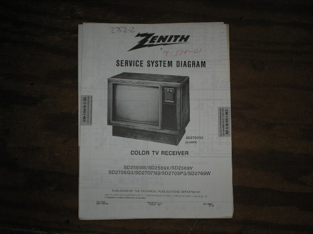 SD2569W SD2569X  SD2569Y SD2705G3 SD2707N3 SD2709P3 TV Service Diagram CM-139 B-3 S T Chassis Television Service Information With Schematics