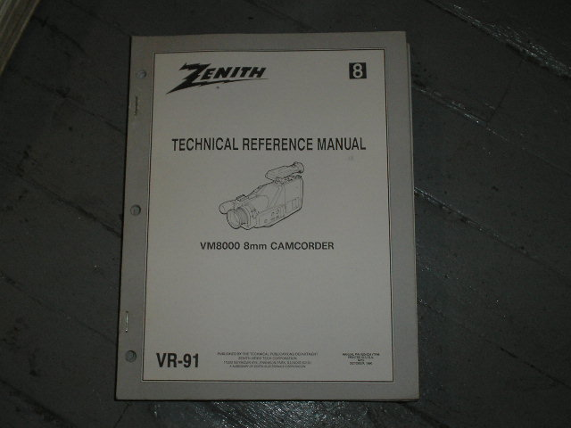 Zenith VM8000 Camcorder Technical Reference Manual... 