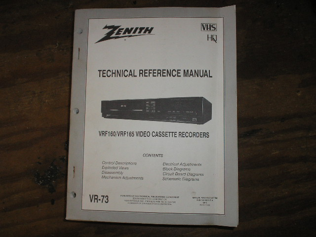 Zenith VRF160 VRF165 VCR Technical Reference Manual... 