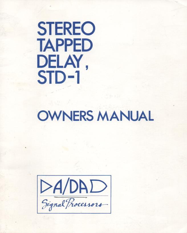 STD-1 Stereo Tapped Delay Owners Manual