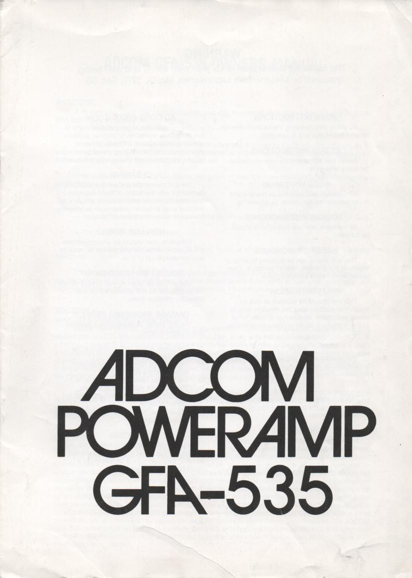 GFA-535 Power Amplifier Owners Manual