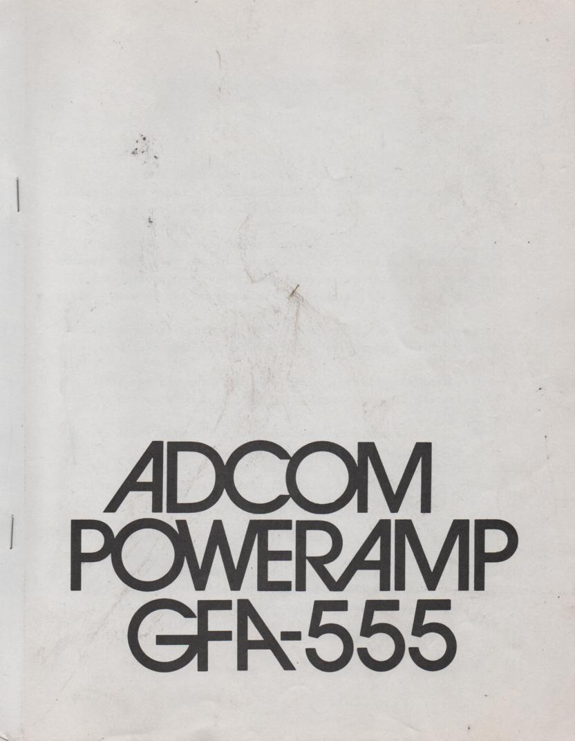 GFA-555 Power Amplifier Owners Manual