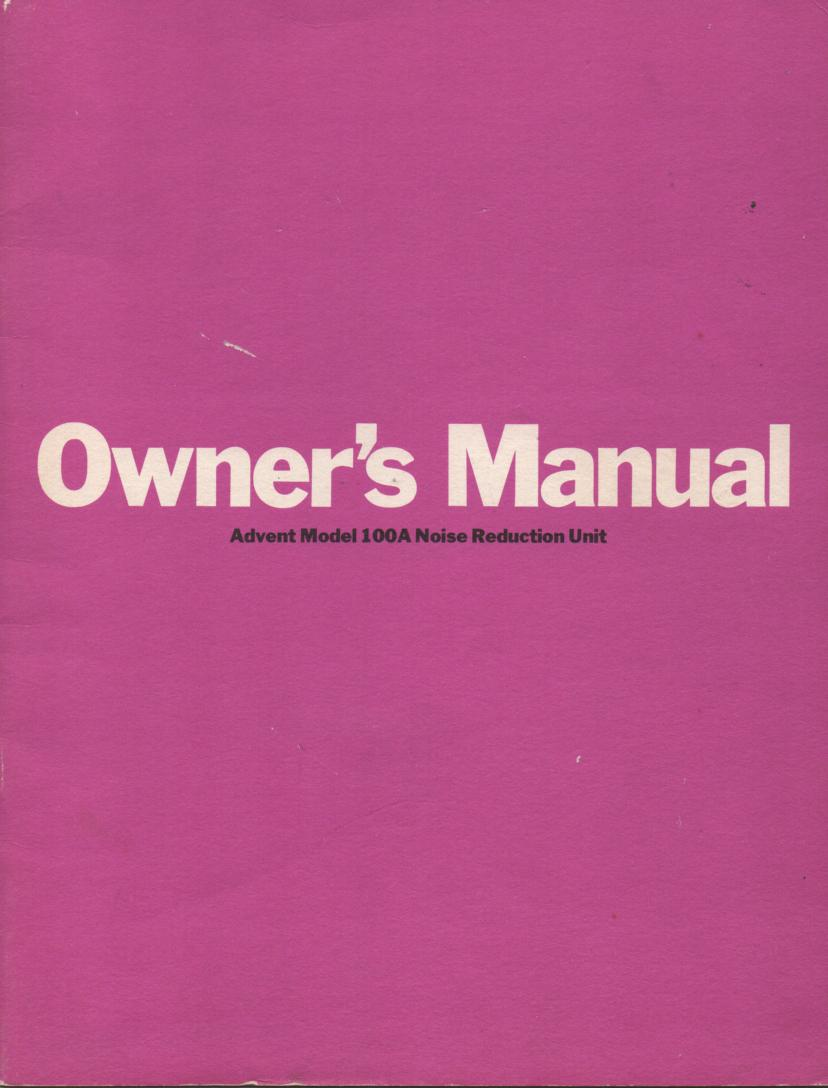 100A Noise Reduction Unit Owners Instruction Manual