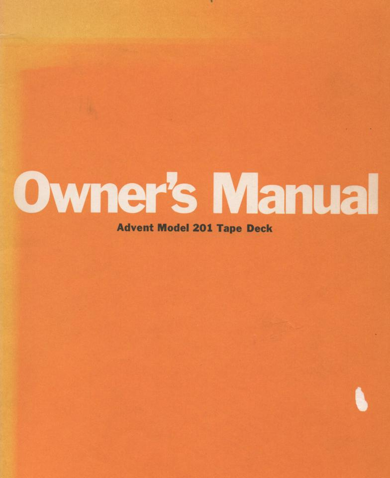 201 Cassette Deck Owners Manual