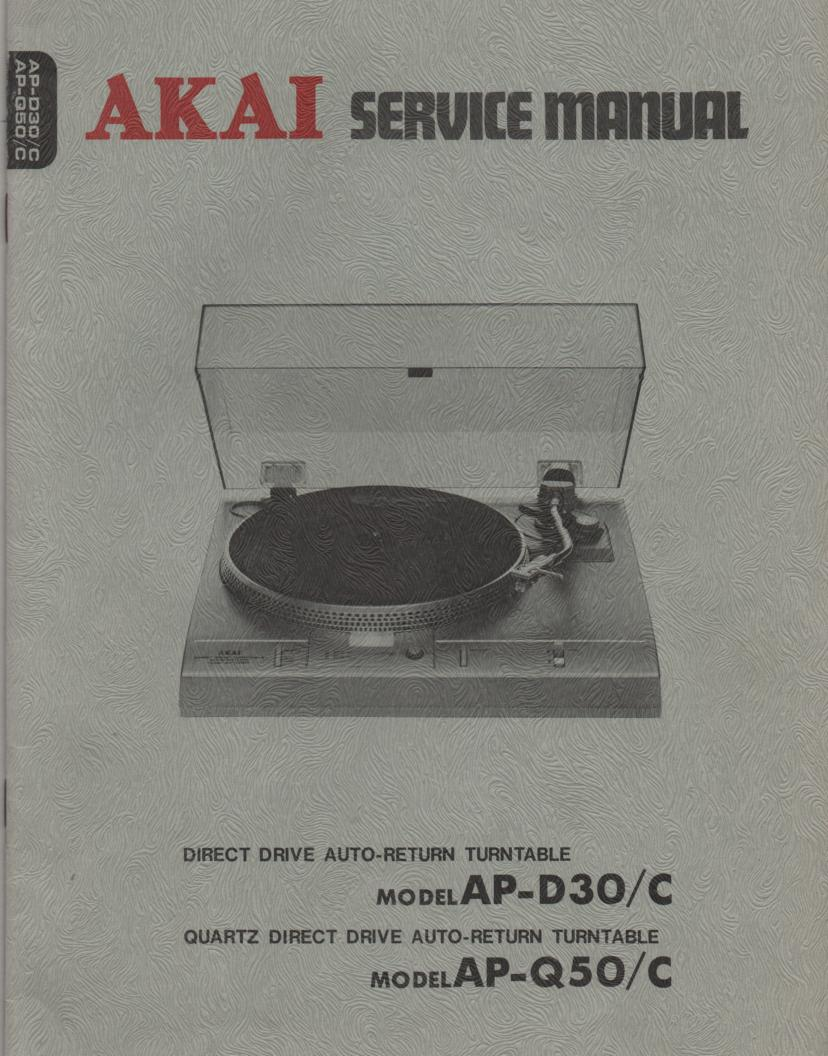 AP-D30 AP-D30C AP-Q50 AP-Q50C Turntable Service Instruction Manual