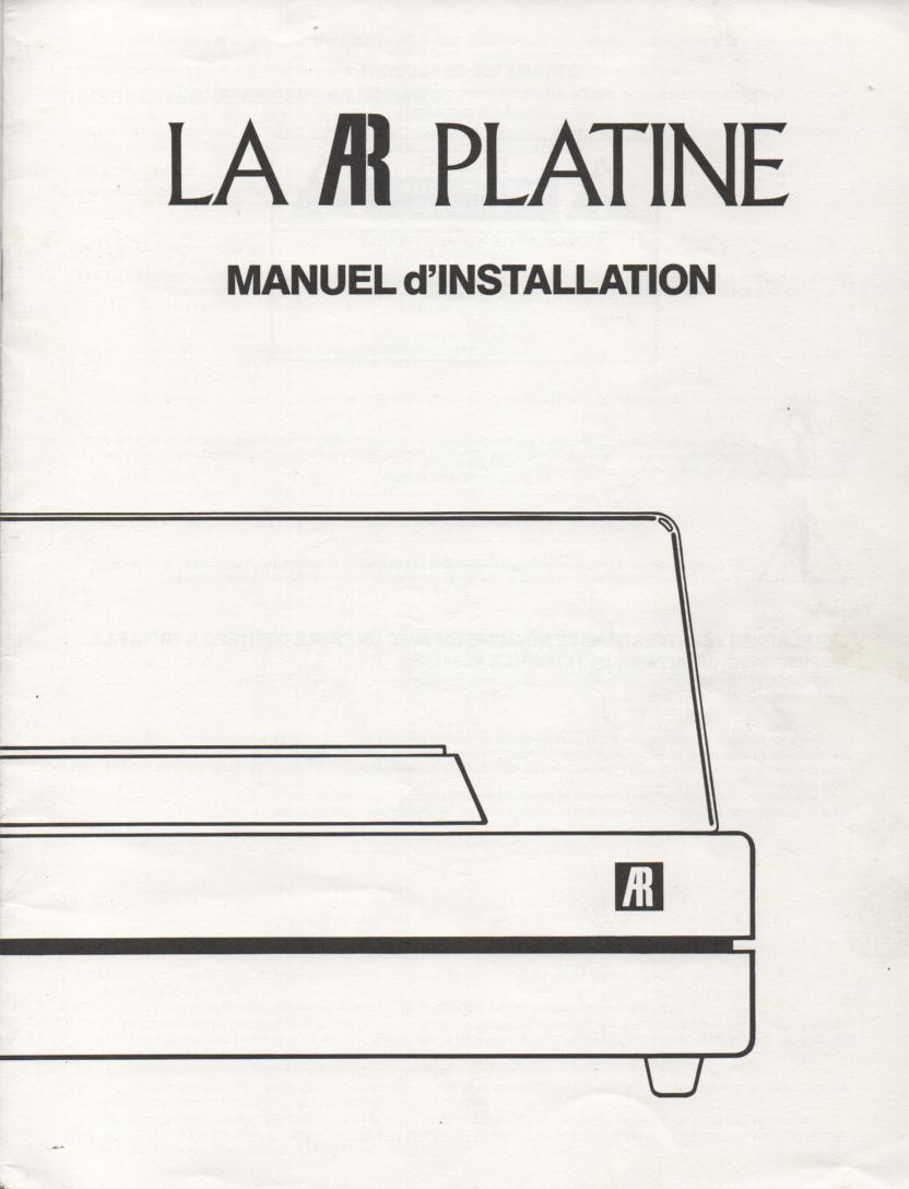 Acoustic Research Turntable Installation Manual French Version