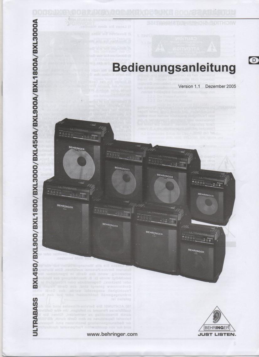 BXL450 BXL900 BXL1800 BXL3000 BXL450A BXL900A BXL1800A BXL3000A ULTRABASS German Owners Instruction Manual