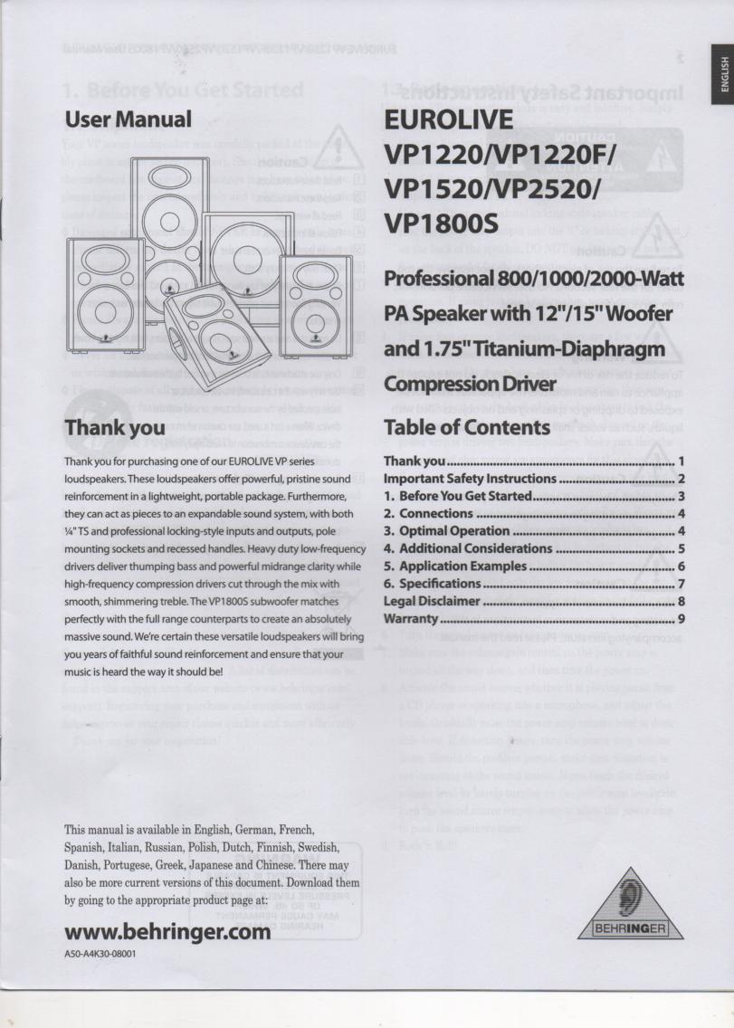 VP1220 VP1220F VP1520 VP1800S VP2520 Speaker System English Owners Instruction Manual.