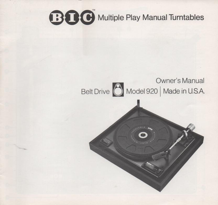 920 Turntable Owners Manual.