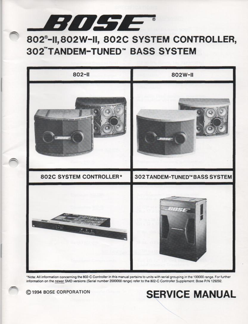 302 Tandem Tuned Bass System. 802 Series II 802W II and 802C controller Service Manual