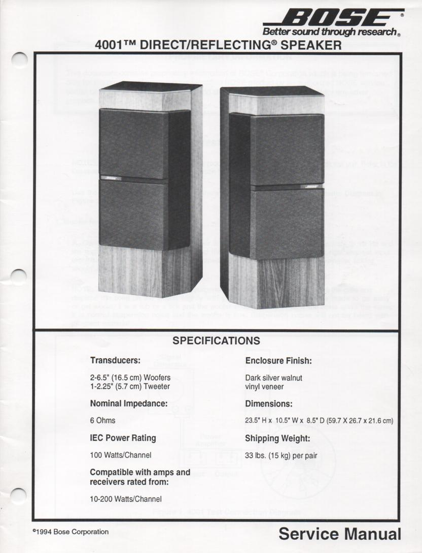 4001 Direct Reflecting Speaker System Service Manual
