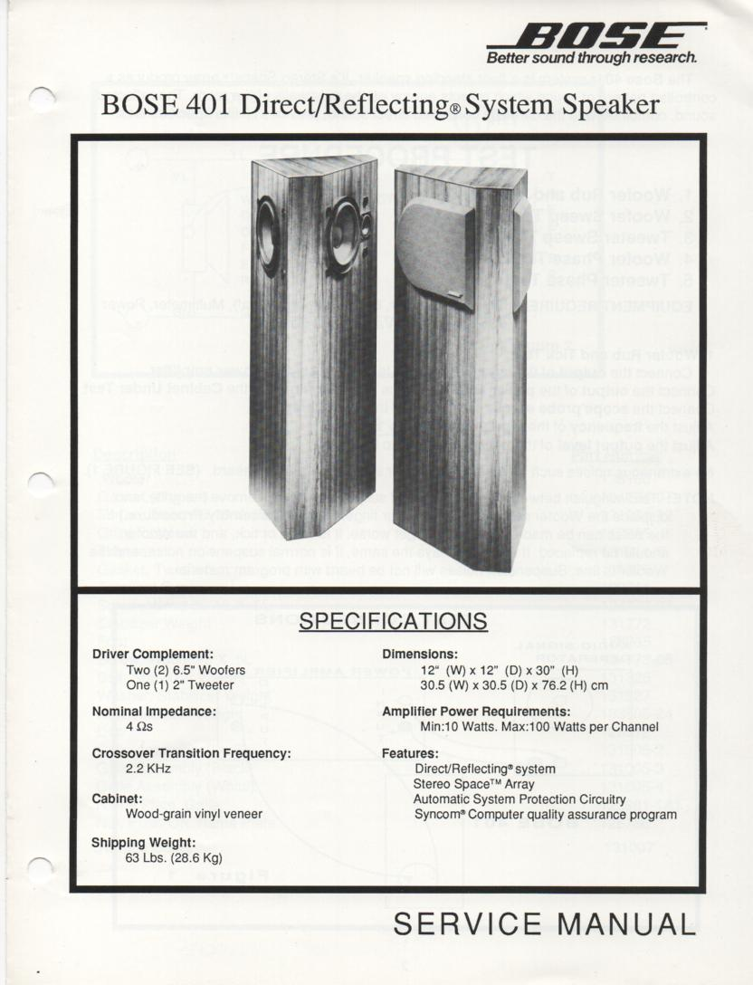 401 Direct Reflecting Speaker System Service Manual