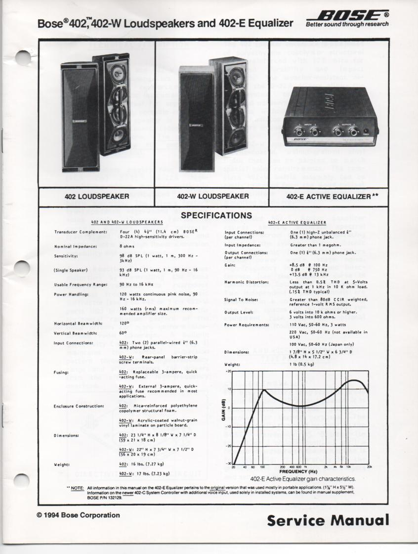 402 402-W Direct Reflecting Speaker System Service Manual with Equalizer Manual